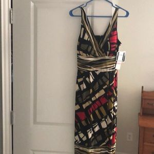 Black/Multi Party dress with built in bra.